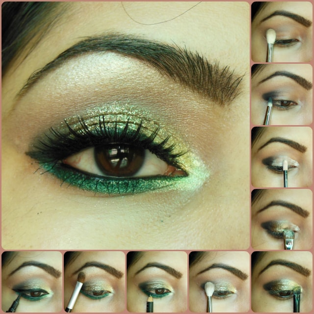 Eye Makeup Tutorial - Glitter Gold and Greens