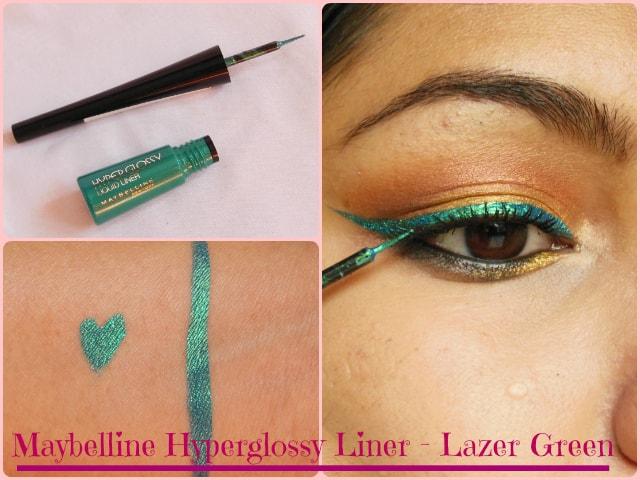 Maybelline Hyper Glossy Liquid liner Lazer Green Look