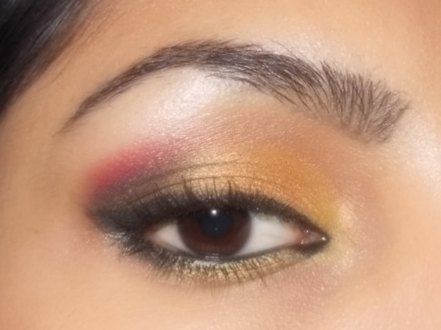 Gold and Pink Party Wear Eye Makeup Look1
