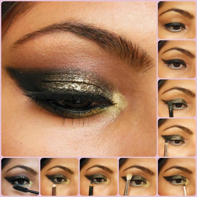Eye Makeup Tutorial- Glittery Black Smokey Eyes