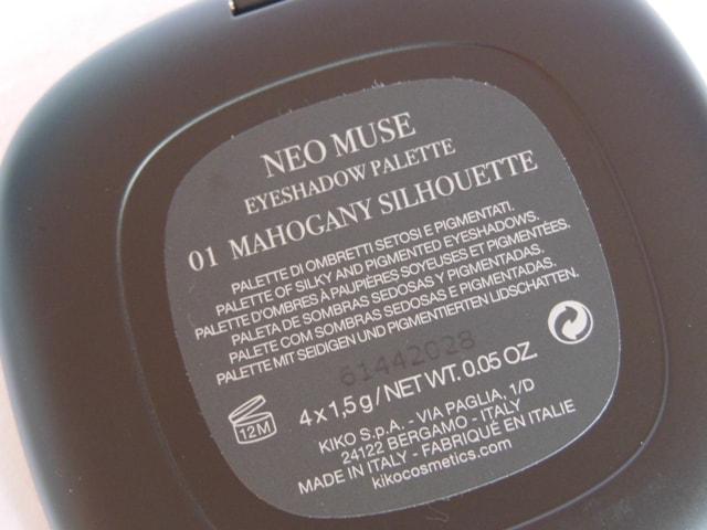 Kiko Milano Neo Muse Eye shadow Palette Claims