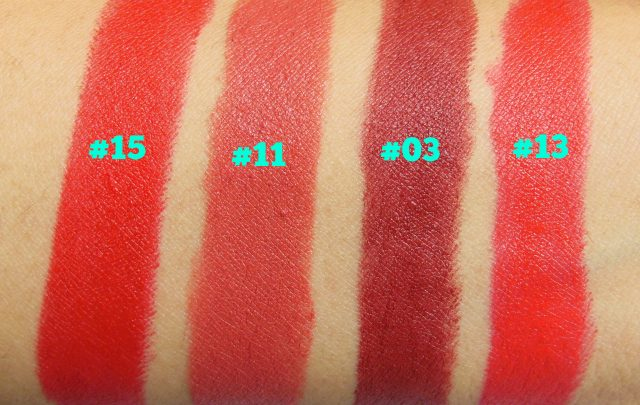 Sivanna Colors Gold Matte Lipstick Swatches with shade numbers - 3, 11, 13, 15