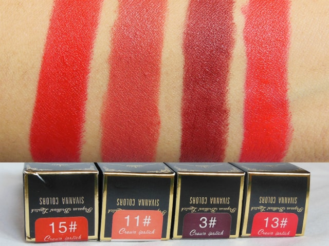 Sivanna Colors Gold Matte Lipstick Swatches with shades- 3, 11, 13, 15