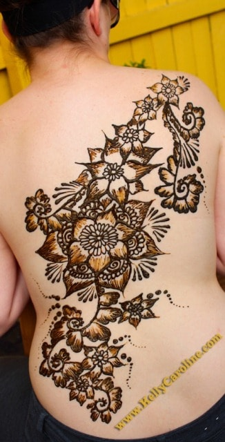 Floral Heena Tattoo Design for Back