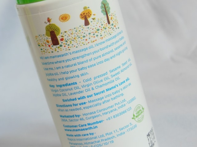 Mamaearth Soothing massage Oil for Babies Ingredients