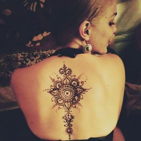 Simple Heena Tattoo Design for Back