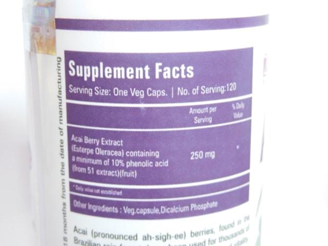 Zenith Nutrition Acai Fab Supplement Capsules Details