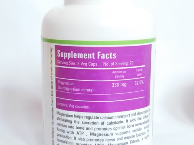 Zenith Nutrition Magnesium Citrate Supplement Capsules Details
