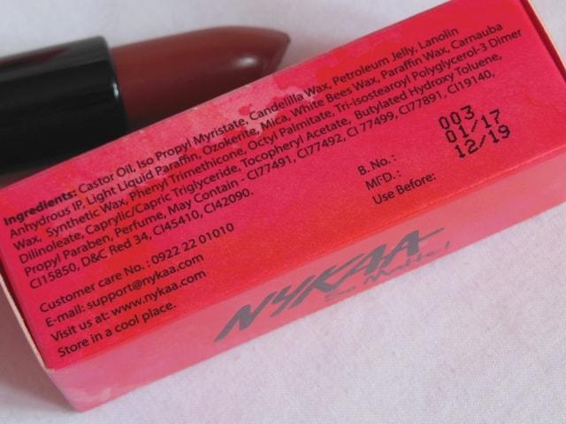 NYKAA So Matte Nude LipstickS Ingredients