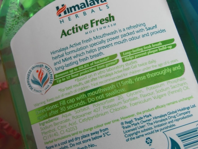 Himalaya Herbals Active Fresh Mouthwash Ingredients