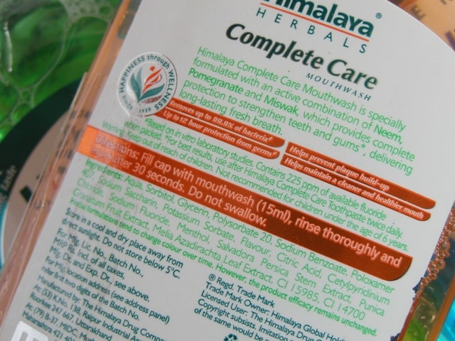 Himalaya Herbals Complete Care Mouthwash Ingredients