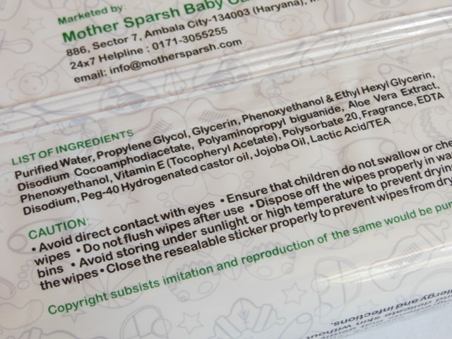 Mothersparsh Water Wipes Ingredients