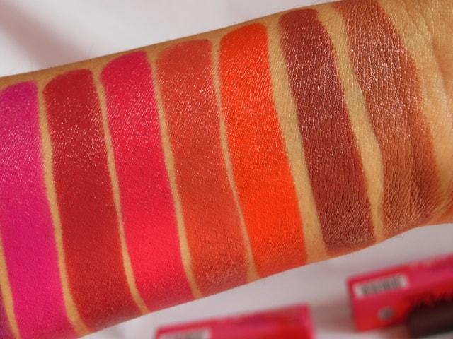 NYKAA PaintStix Lipsticks Swatches 1-min