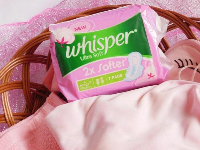 Whisper Ultra Soft 2X Softer Sanitary Napkins packaging