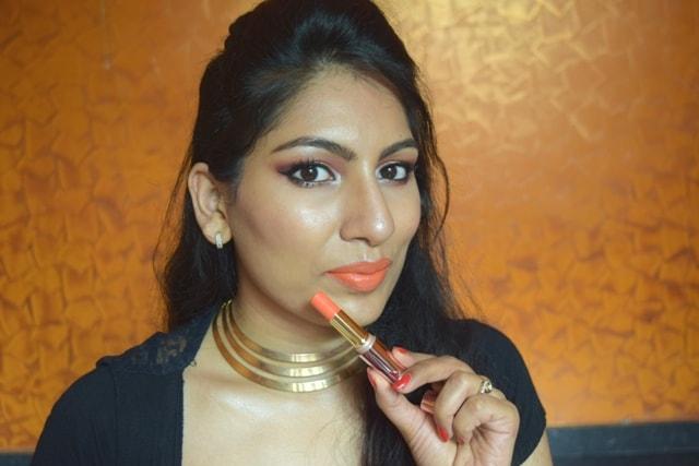Lakme 9to5 Primer + matte Lipstick- Saffron Gossip Lip Swatch