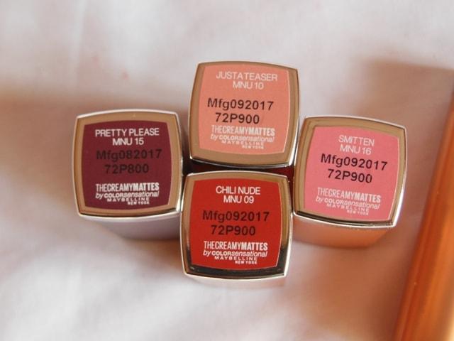 Maybelline Inti MAtte Nudes Creamy Matte Lipsticks Shades