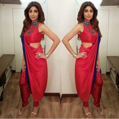 Saree Fashion Trend 2018 -Dhoti Style Saree Shilpa Shetty