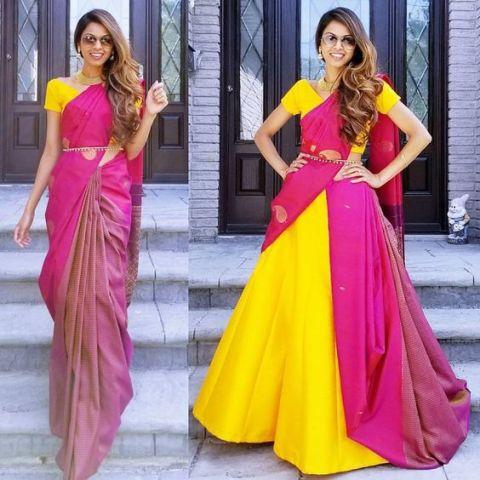 Saree Fashion Trend 2018 - Saree Over lehenga Style 2