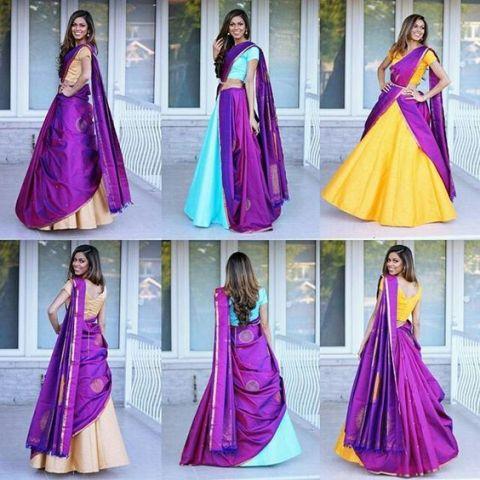 Saree Fashion Trend 2018 - Saree Over lehenga Style