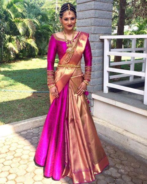 Saree Fashion Trend 2018 - Saree Over lehenga