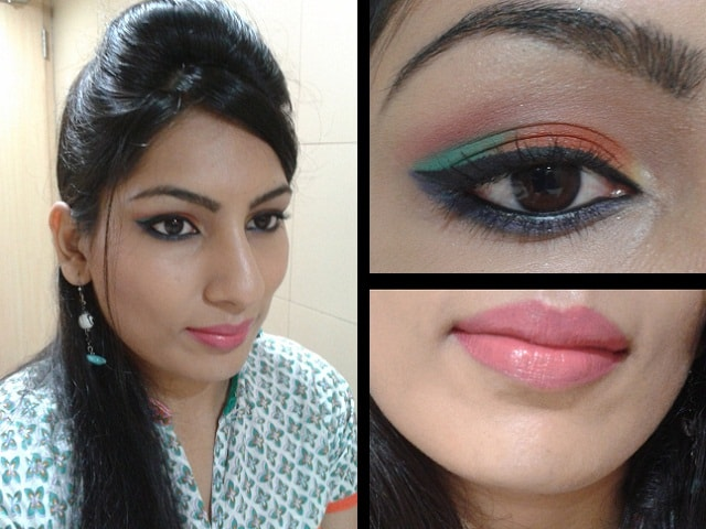 What Am I Wearing Today - Orange and Blue Eye Makeup