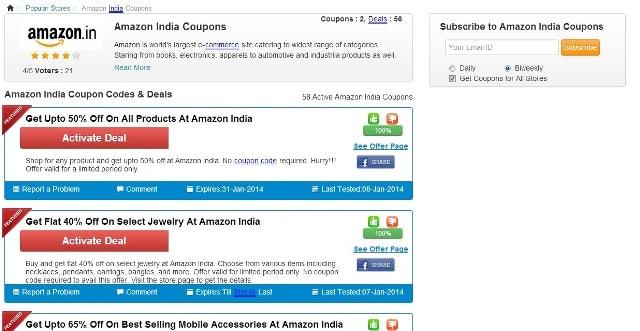 CouponRani Website - Amazon Coupon