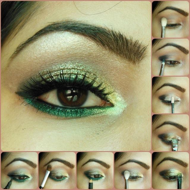 Eye Makeup Tutorial - Glitter Gold and Greens