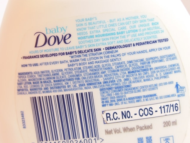 Baby Dove Rich Moisture Nourishing Baby Lotion Ingredients