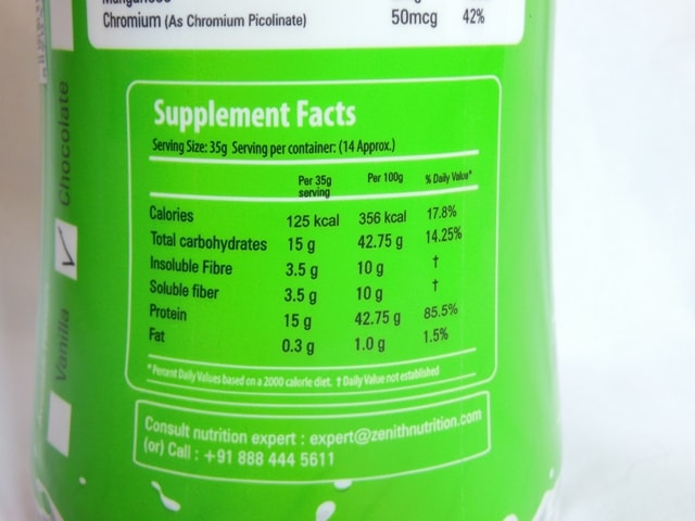 Zenith Nutrition Slim Shake Supplement facts