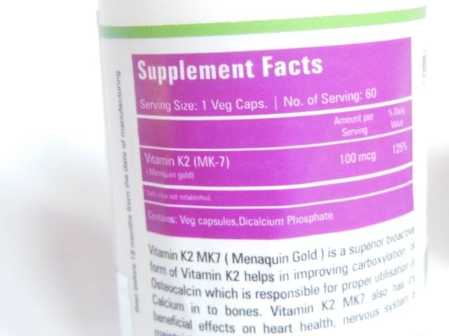Zenith Nutrition Vitamin K2 as MK-7 Supplement Capsules Details