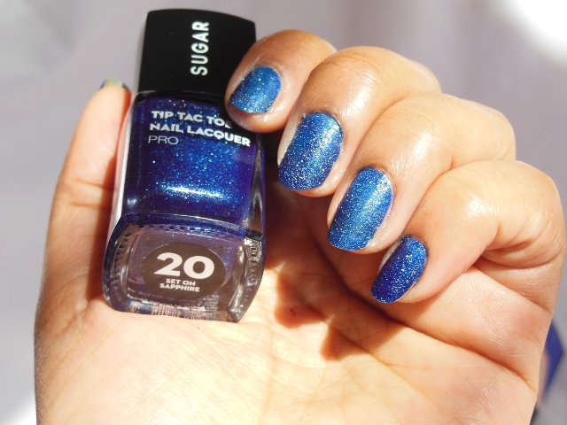Sugar Cosmetics Tip Tac Toe Nail Lacquer - Set on Sapphire nails