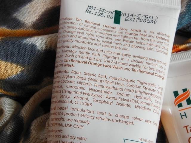 Himalaya Herbals Tan Removal Orange Face Scrub Ingredients