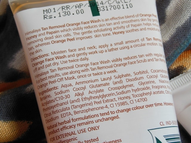 Himalaya Herbals Tan Removal Orange Face Wash Ingredients