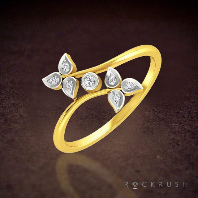 Gold Ring Designs for Females - Plant leaves on it