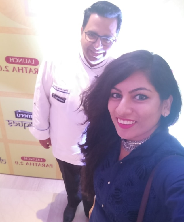 With Chef Ajay kapoor at Sumeru Paranthas Launch-min