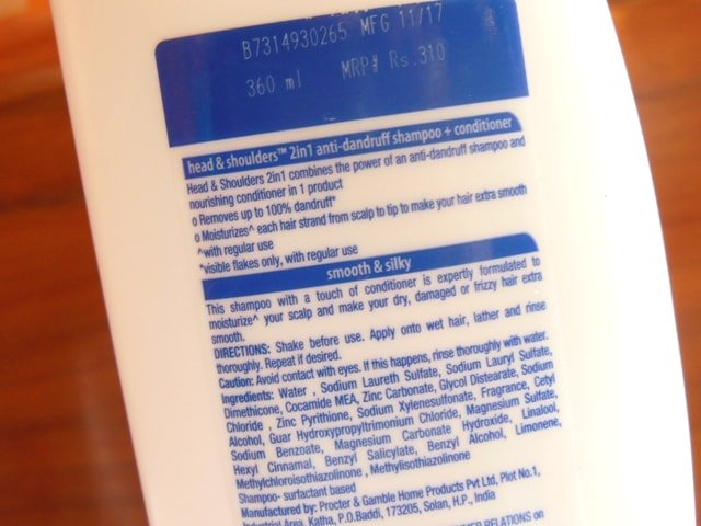 Head & Shoulders Smooth and Silky 2-in-1 Shampoo + Conditioner Ingredients