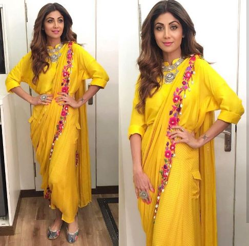 Saree Fashion Trend 2018 -Dhoti Style Saree Shilpa Shetty 2