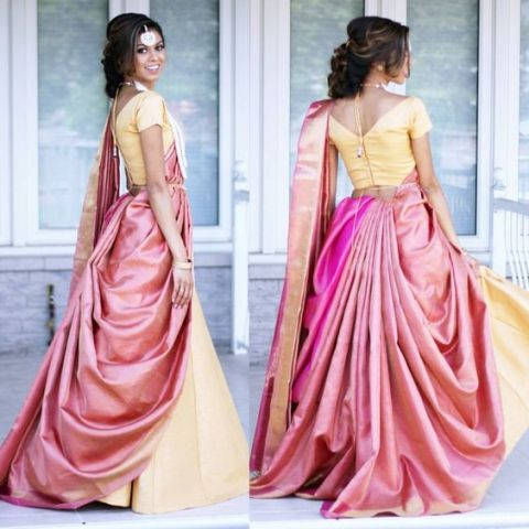 Saree Fashion Trend 2018 - Saree Over lehenga Style 1