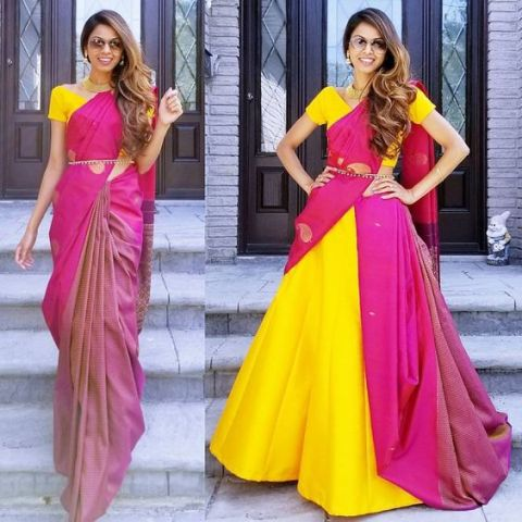 Saree Fashion Trend 2018 - Saree Over lehenga Style 2