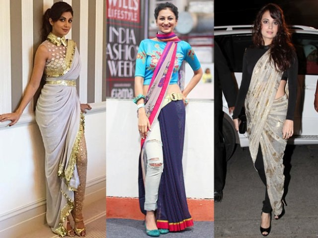 Saree Fashion Trend 2018 -Saree as a Slit Dress